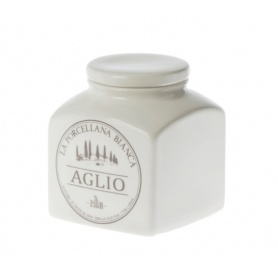 Jar for Garlic white porcelain ceramic line Preserves