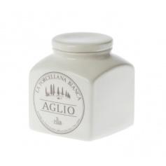 Jar for Garlic white porcelain ceramic line Preserves