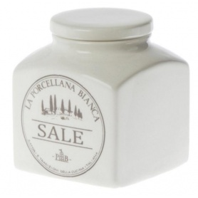 White Porcelain ceramic Salt jar Preserves line