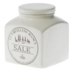 White Porcelain ceramic Salt jar Preserves line