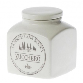 White Porcelain ceramic line Preserves Sugar jar