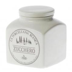 White Porcelain ceramic line Preserves Sugar jar