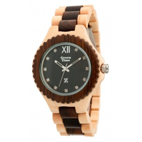 Watch Green Time by Zzero in wood two-tone natural 100% - ZW003C