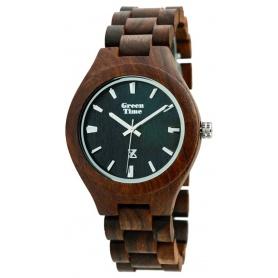 Grün-Uhr Time von Zzero natürliche schwarze Sandale Holz-ZW005A