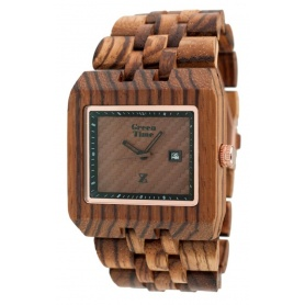 Rectangular watch Greentime in natural zebrawood