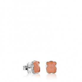Orecchini Tous Color in argento e quarzo rosa