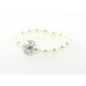 Mimi white pearls and silver ring - A023XRB