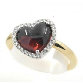 Anello Mimì Juliet in Oro con Granato a cuore e Diamanti - A305C8TB