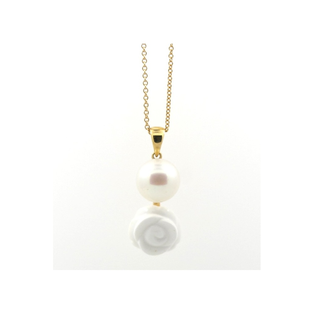 mimi necklace line grace in gold ros 242 with white pearl and