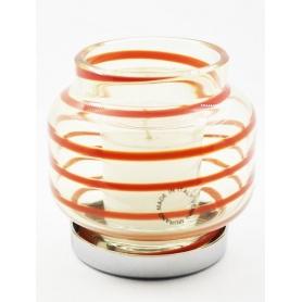 Venini-Kerze-Halter und rot transparent eingestellt