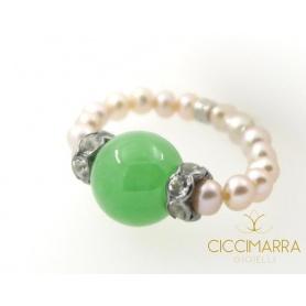 Anello Mimì perle Giada Verde - A023V3G