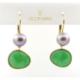 Orecchini Mimì in oro con giada verde e perla viola - 0329R3G