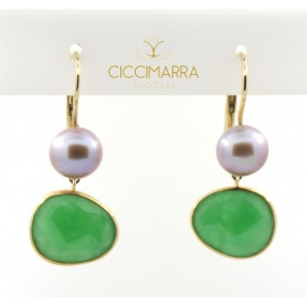 Mimi gold earrings with green jade and purple pearl - 0329R3G