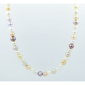 Multicolor pearl necklace Mimi elastic - C03804AR