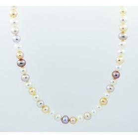 Multicolor pearl necklace Mimi elastic - C03804AR