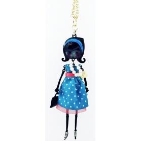 Collana bambola Le Carose Flappers puà vestito blu e rosso