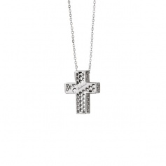 Salvini Necklace Golden Cage collection cross motif in white gold with diamond
