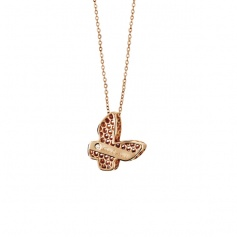 Necklace Salvini Golden Cage collection butterfly motif rose gold with diamond