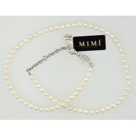 Necklace in white pearls Mimi elastic line - C023XO1