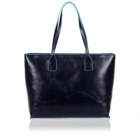 Piquadro leather shopping bag blue color - BD3336B2/BLUE2