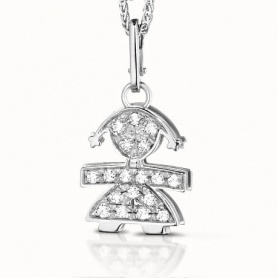 Necklace pendant Le Bebè white gold and diamonds