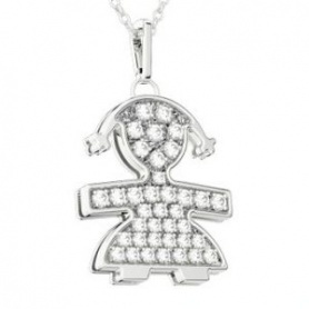 Necklace pendant Le Bebè girl in white gold and diamonds large