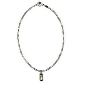 Collana Uno de50 in cuoio e pepite color argento con cristallo verde