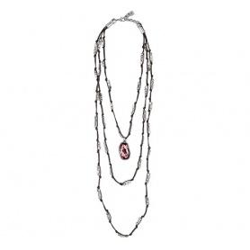 Collana Uno de50 lunga  in cuoio e pepite color argento con cristallo