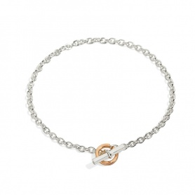 Bracelet Silver and 9k Rose Gold Clasp Civita by Queriot