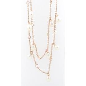 Perlenkette italienischen Cameo in Silber rosé vergoldet Blumenminiatur Motiv