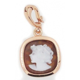 Italian Cameo pendant in Sterling Silver rose wine with Cameo woman face