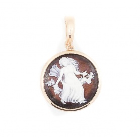 Italian cameo pendant in silver rose gold plated woman motif