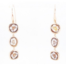 Earrings Italian Cameo in silver rose gold plates flower motif