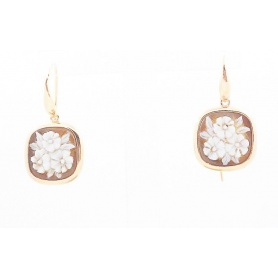 Earrings Italian Cameo in silver rose gold plated flower motif