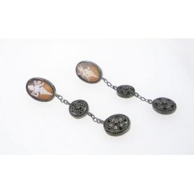 Ohrringe italienischen Cameo in Silber mit Cameo Tinkerbell Motiv