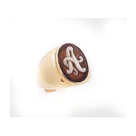 Italian Cameo ring in silver rose gold palted with initial A on top - A51