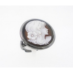 Italian Cameo silver ring with cameo woman's face
