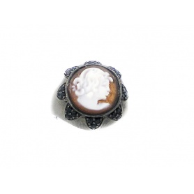 Italienisch Cameo Ring in Silber mit Gesicht Cameo Frau in Relief- A55