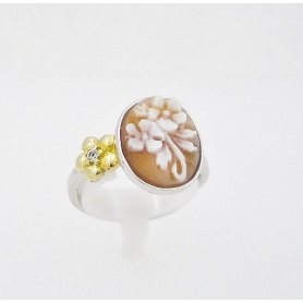 Italian Cameo silver ring with cameo flower motif - A23L