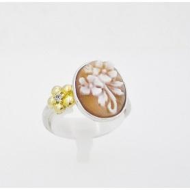 Italienisch Cameo Silber Ring mit Miniatur Blumenmotiv - A23L