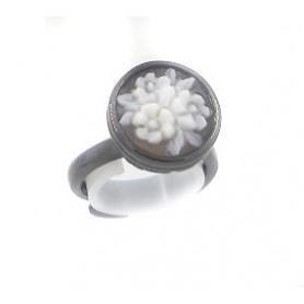 Italienisch Cameo Ring mit Miniatur Blumenmotiv - A10