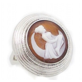 Italian Cameo silver ring with cameo woman on the moon motif - A47