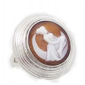Italienisch Cameo Silberring mit Cameo-Frau auf dem Mond-Motiv - A47