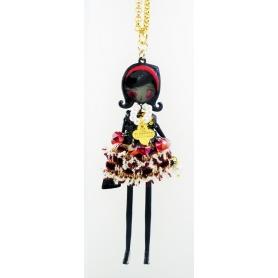 Collana bambola Le Carose Flappers abito stoffa con cristalli pendenti