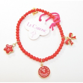 Bracciale Le carose linea elastica con perle rosse e pendenti rossi