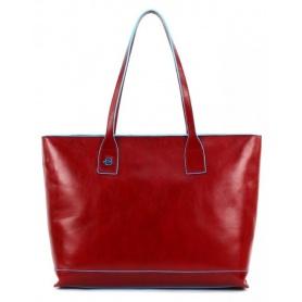 Piquadro shopping bag Blue Square red skin-BD3336B2/R