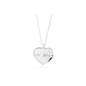 Pink heart pendant necklace silver large