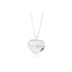Rosa Herz Anhänger Halskette Silber groß