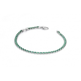 Pinkish green Tennis bracelet with cubic zirconia