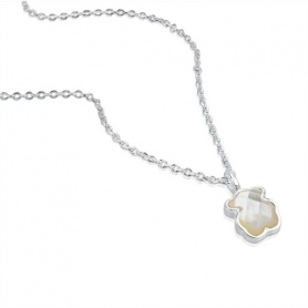 Teddy Bear necklace silver and mother of Pearl Tous